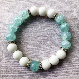 White Jade & Teal Crackle Glass Stretch Bracelet